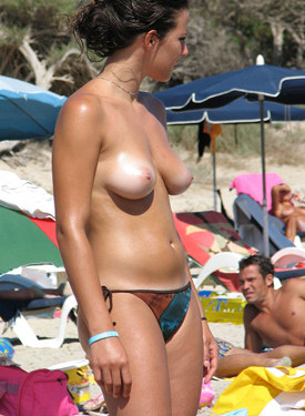 Topless girls on the beach