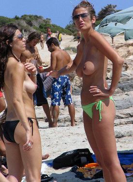 Sexy beach topless girls