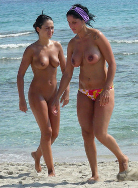 Topless beach cuties
