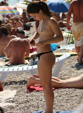 Nude beach candid walking chick