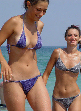 Tasty candid beach girls in bikini
