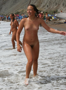 Nudist beach mother and daughter